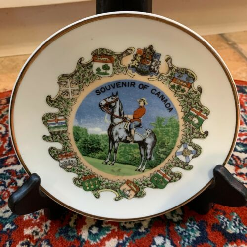 """VINTAGE GIFTCRAFT TORONTO SOUVENIR OF CANADA  6"""" PLATE WITH PROVINCES HORSE EUC"""