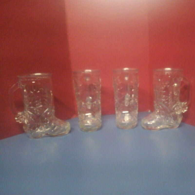 "6"" Libbey Canada Western Boot Mugs 16oz (4pc) Santa Special Holiday Tradition"