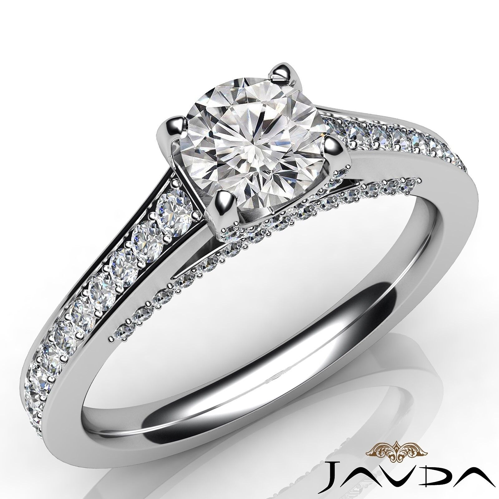 1.35ctw Brilliant Cut Round Diamond Engagement Ring GIA G-VVS2 White Gold Rings