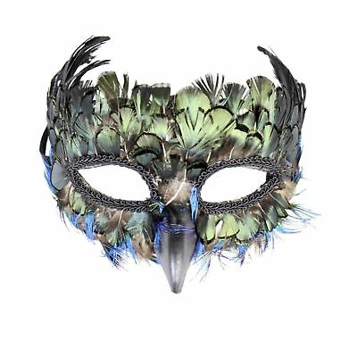 Elegant Peacock Bird Blue Faux Masquerade Halloween Costume Feather Eye Mask  - Peacock Masks