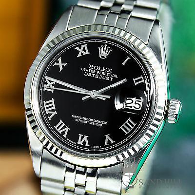 STUNNING Rolex DateJust 18K WG Gloss Black Roman Auto 36mm Mens 1601 #1466