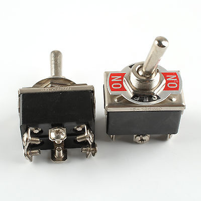 2x Heavy Duty Toggle Switch DPDT On-Off-On Switch 6 Terminal Car Boat 20A 125V
