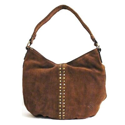 PATRICIA NASH Bello Hobo COGNAC Burnished Suede LEATHER Brown Tote Studded NWT  Burnished Cognac