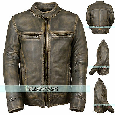 CUSTOM Sized :Distressed men Moto  Vintage Biker Retro Cafe Racer Leather Jacket