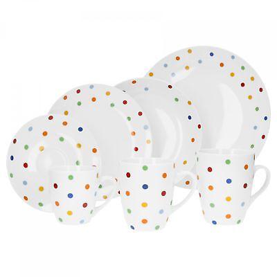 Van Well Porzellan Geschirr Serie Capri 6er Set weiß Dekor Teller Tassen Schalen