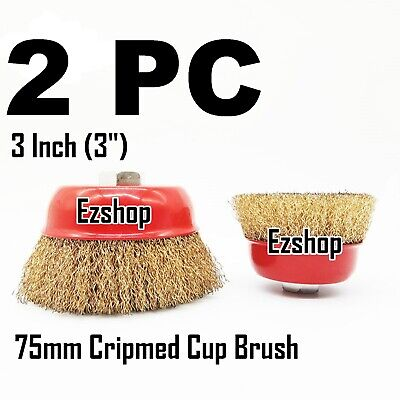 2 Wire Cup Brush Wheel 3 75mm For 4-12 115mm Angle Grinder Crimped Cup