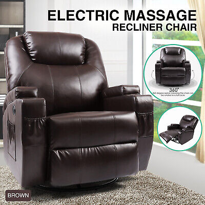 New Electric Leather Recliner Massage Sofa Chair Heated Rocker 360 Swivel -