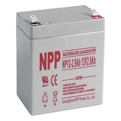NPP 12V 2.9Ah 12Volt  2.9amp Rechargeable SLA Battery ES2.9-12 PC2.9-12L UB1229T