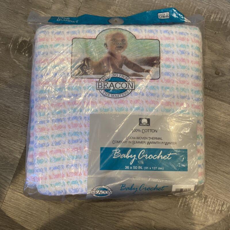 Vintage Beacon Baby Crochet Blanket 100% Cotton White Pastel NIB Stripes 36 X 50