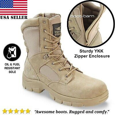 Mens Combat Military Tactical Work Boots Zipper Army Tan Hunting Hiking Lace NEW Fall Lace Boots