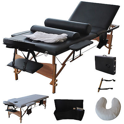 """3 Fold 84""""Massage Table Chair Facial Bed Portable W/2 Bolster+Sheet+Cradle Cover"""