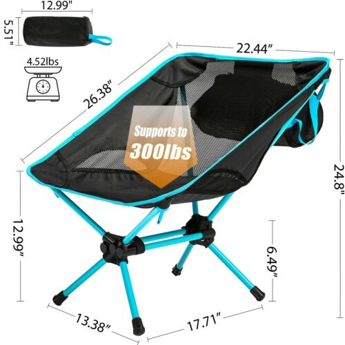Ubon Ultralight Portable Camping Chair Foldable Backpacking Fishing Chair 300lbs