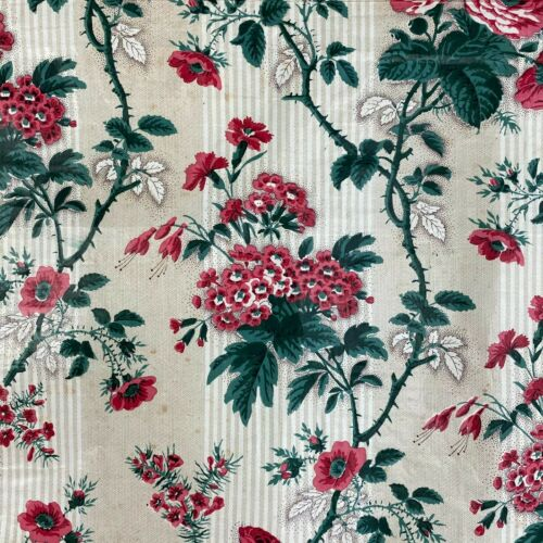 Chintz glazed 1850 AMAZING condition fabric material French old by the yard