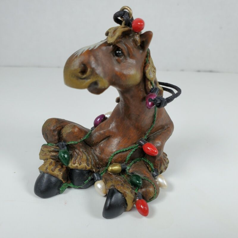 Montana Silversmiths Elmer the Horse Ornament Tangled in Christmas Lights