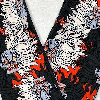 LuLaRoe Disney Villains Kids L/XL Leggings Cruella Black & White Hair on Orange ()