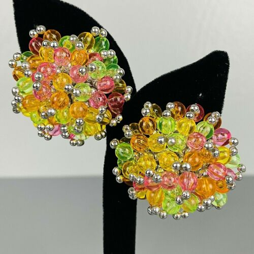 "Vintage 80s  Clip On Earrings Large Multi-Color Cluster Beaded Runway 1.75"" Alex"