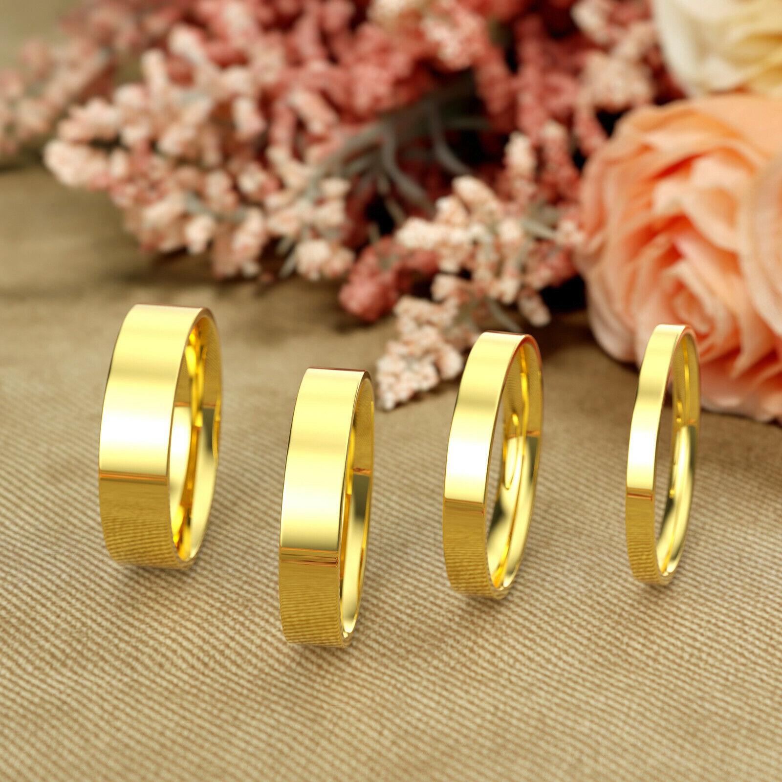 14K Yellow Gold 2mm 3mm 4mm 5mm Comfort Fit Men Women Flat Wedding Band Ring