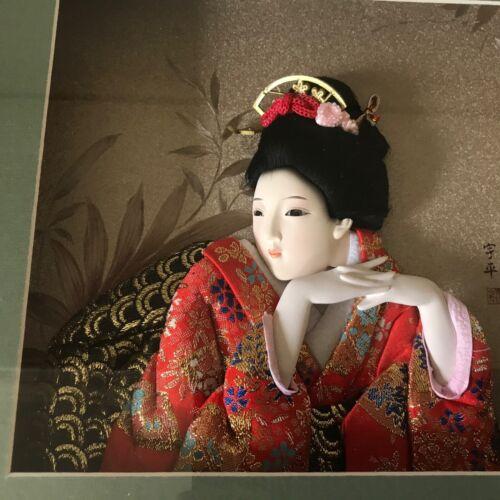 GEISHA woman textile art silk/Porcelain framed mixed media picture 3d shadowbox