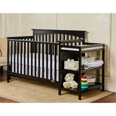 (Baby Crib Convertible Cribs With Changing Table Wood Toddler Bed Daybed Black)