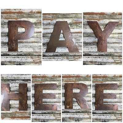 Rusty PAY HERE letters Sign Metal Shop Retail Point Of Sale Restaurant Fittings