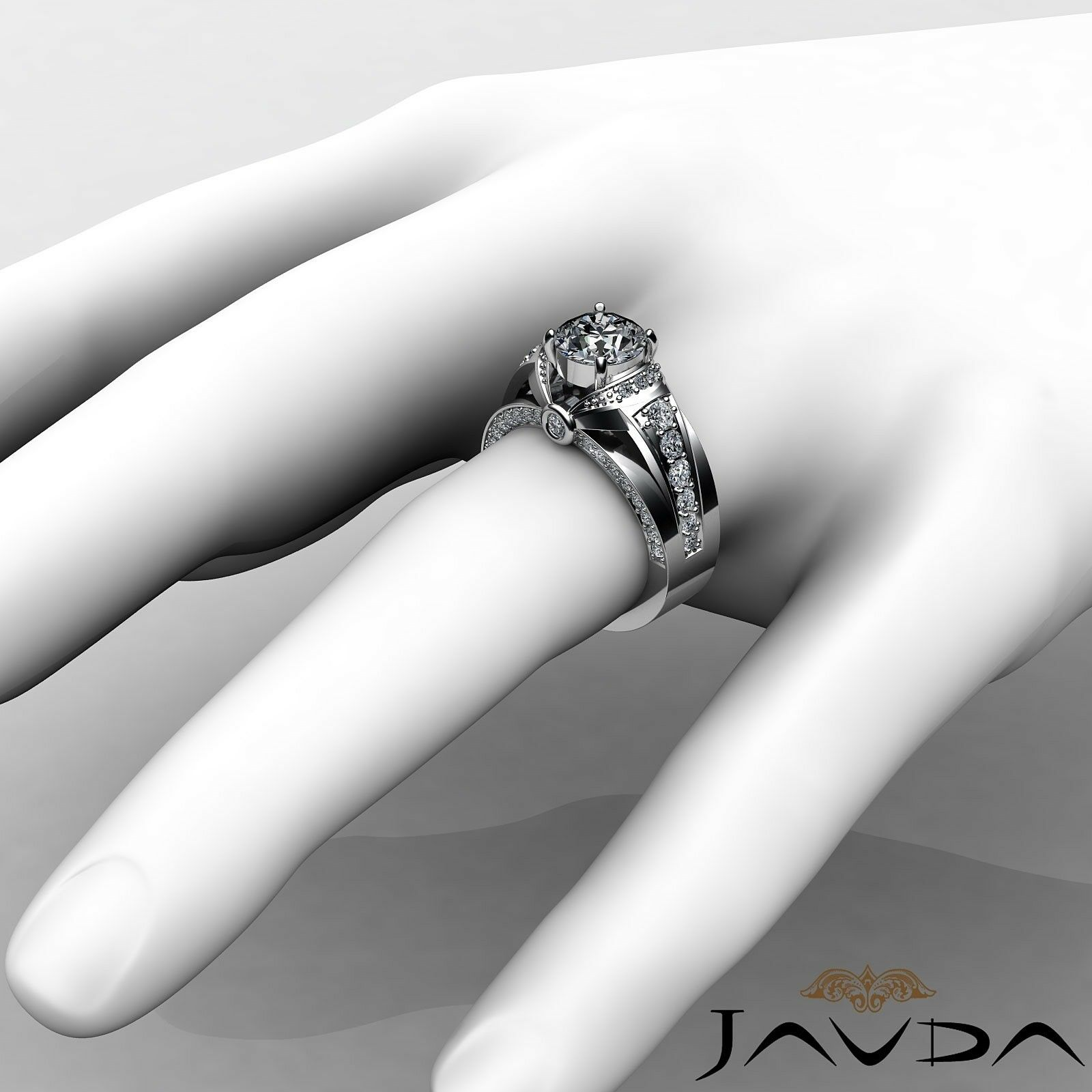 1.7ct Knot Classic Sidestone Round Diamond Engagement Ring GIA H-VVS2 White Gold 3