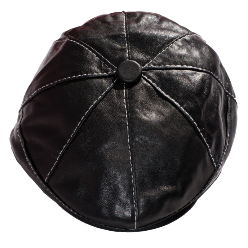 Black Newsboy with White Stiching a Beautiful Leather Newsboy Cap