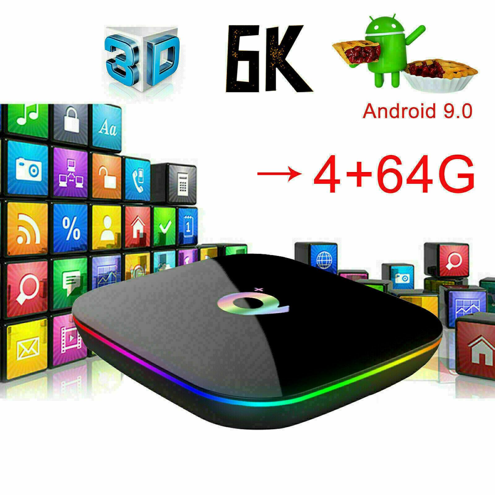 2019 6K Q plus 4+64GB Android 9.0 Pie Quad Core Smart TV Box