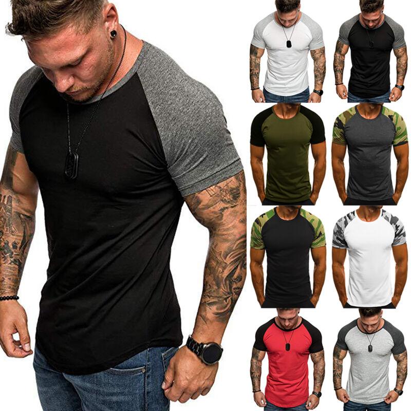 Men Fit Short Sleeve Slim Gym Muscle Bodybuilding T-shirt Te