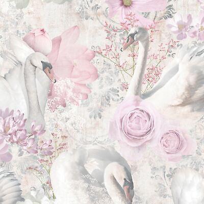 HOLDEN PINK GLITTER SWANS WALLPAPER 90700 - VINTAGE, FLOWERS, DAMASK