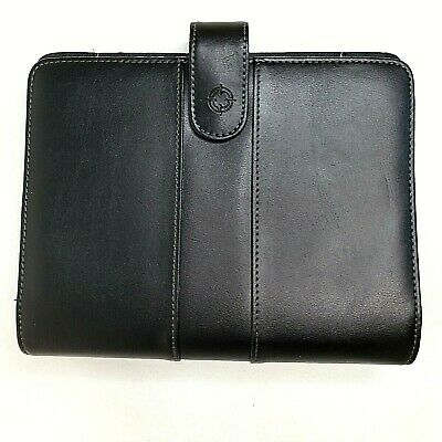 1996 Franklin Covey Black Leather Spacemaker Planner 7 Ring Binder Holder Work