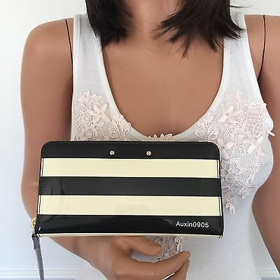 NEW! KATE SPADE Black Cream Patent Leather Zip Around Wallet Clutch Purse