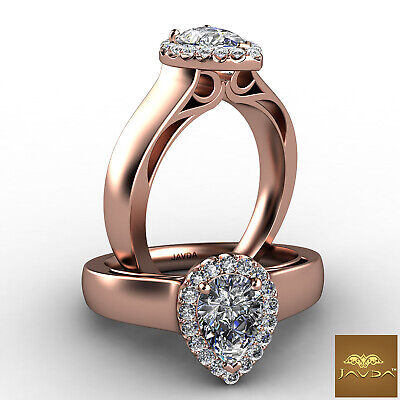 Halo Pave Set Womens Pear Diamond Engagement Ring Certified by GIA F VVS2 0.70Ct 8