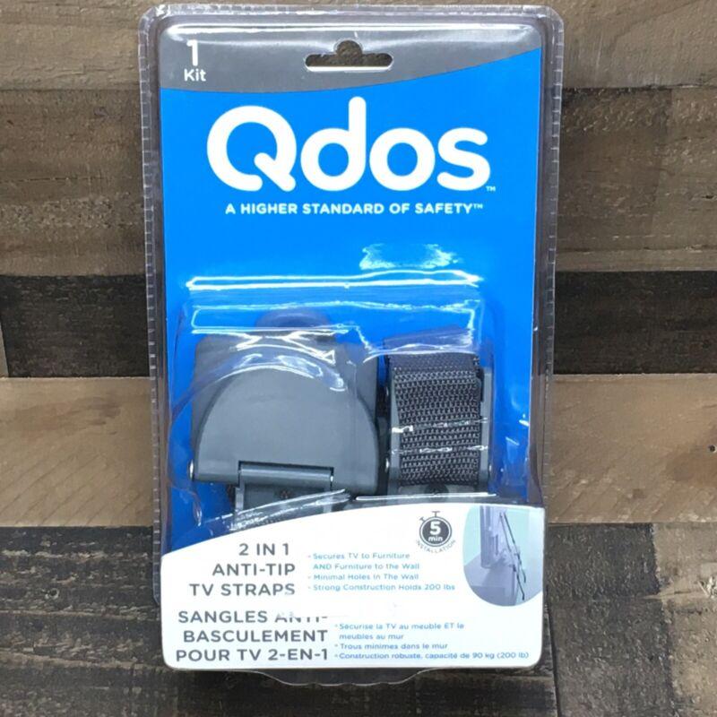 Qdos 2 in 1 Anti-Tip TV Straps 1 Kit - 2 straps SecureHooks Anchor Holds 200 lbs