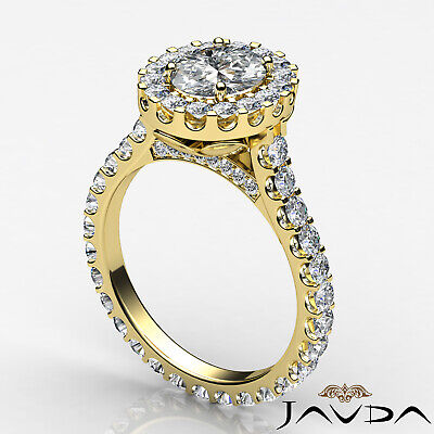 2.5 ct Oval Diamond Engagement 14k White Gold F VS2 Clarity GIA Halo Pave Ring 7