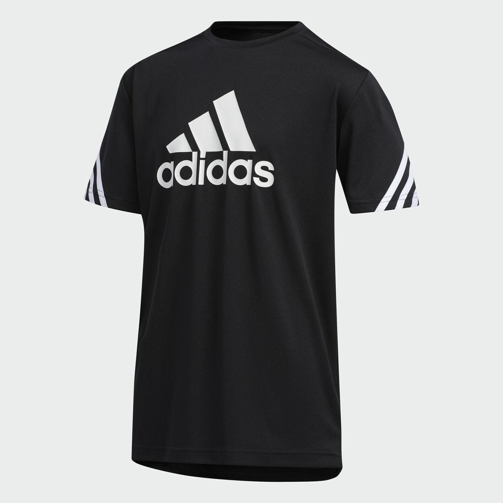 adidas Big Logo White 3-Stripes Short Sleeve Black Tee Big B