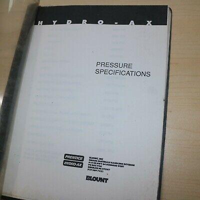 Prentice Blount Hydro-ax Skidder Hydraulic Service Specification Manual Sheet