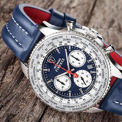 DETOMASO Firenze Racing XXL Herrenuhr Chronograph Edelstahl Blaues Lederband Neu