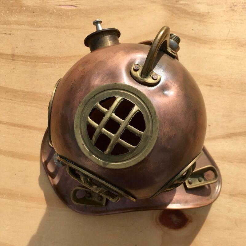 Vintage Nautical Deep Sea Diving Scuba Helmet Display - Copper & Brass, Sz. 7in