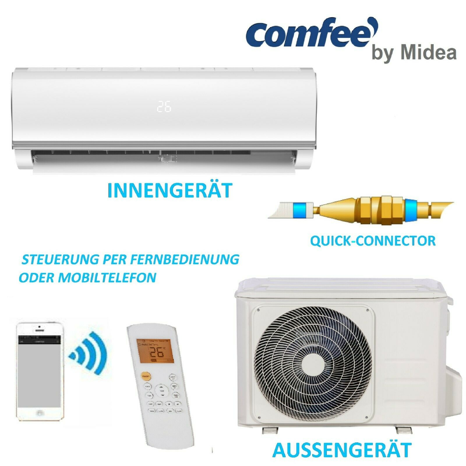 Comfee Split-Klimaanlage Quickconnector Klimagerät MSAF5-12HRDN8-QE 12000BTU R32