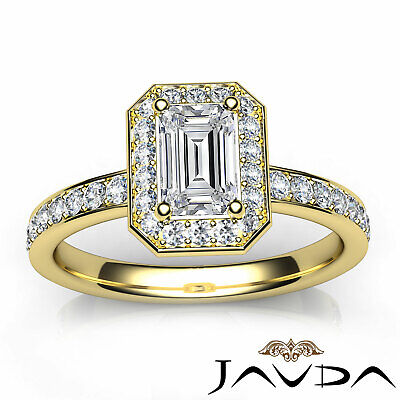 Emerald Cut Halo Pave Set Diamond Engagement Ring GIA G VS1 Platinum 950 0.95Ct 10