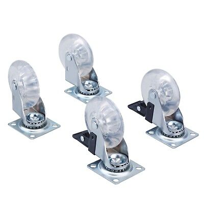 Steel Core 4pc 3 In Clear Pu Light Duty Swivel Caster Set With 360 Degree Plate