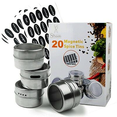 Spice Label Sticker (Magnetic Spice Tins (20-Piece Set) Incl. 150 Pre-Printed Sticker Labels )
