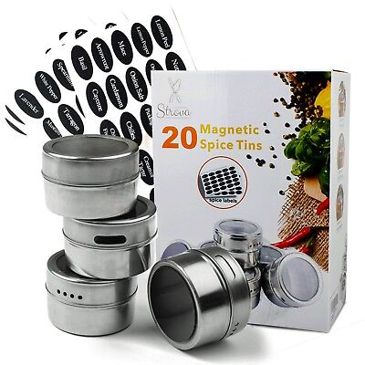 Magnetic Spice Tins (20-Piece Set) Incl. 150 Pre-Printed Sticker -
