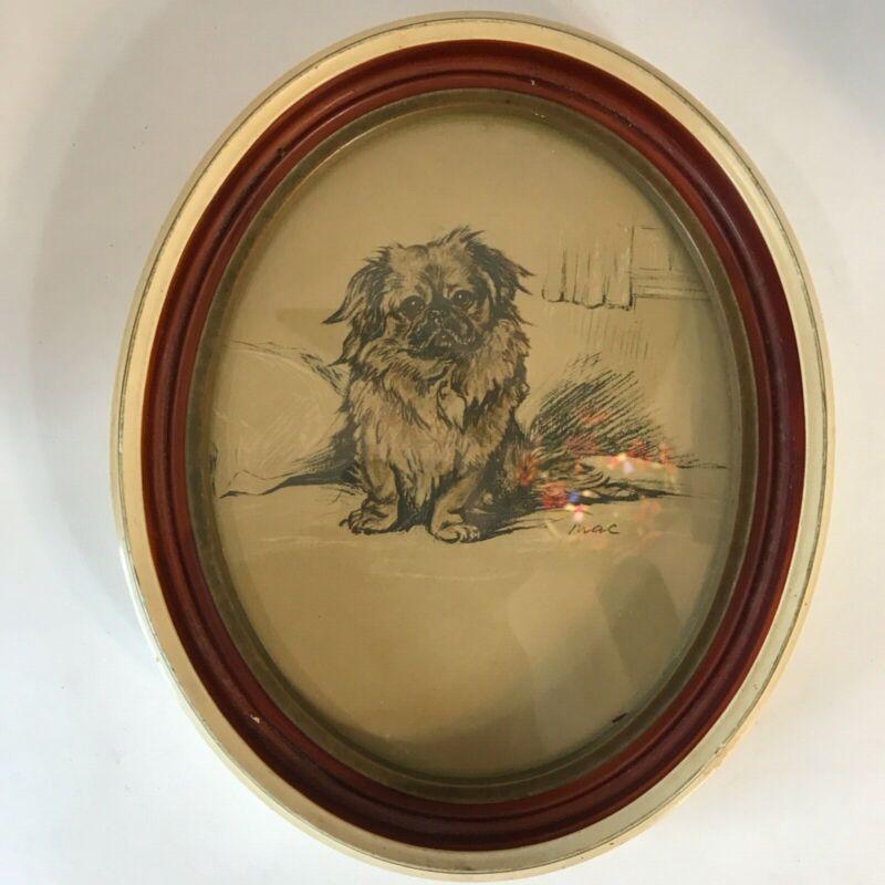 "Vintage Framed Pekingese Dog Wall Picture 8.25"" W x 9.75"" H"
