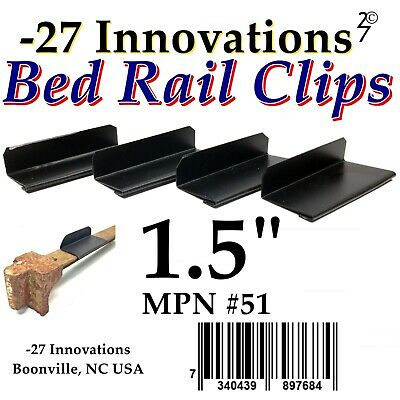 4 CLIPS Antique Flat Top Rail Iron Bed-Box Spring/Mattress CONVERSION KIT 1.5