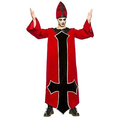 Adult Men's Evil Bishop Priest Religious Halloween Costume Robe Gown Hat S-2XL (Religious Costume)