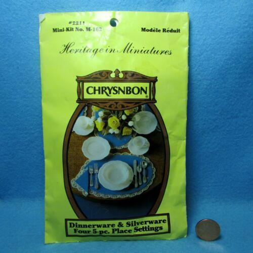 Dollhouse Miniature Chrysnbon White Dish Set with Silverware 4 Place Settings