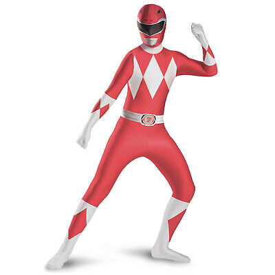 Red Ranger Adult Costume (Adult Red Mighty Morphin Power Ranger Halloween 90's Costume Jumpsuit Men's)