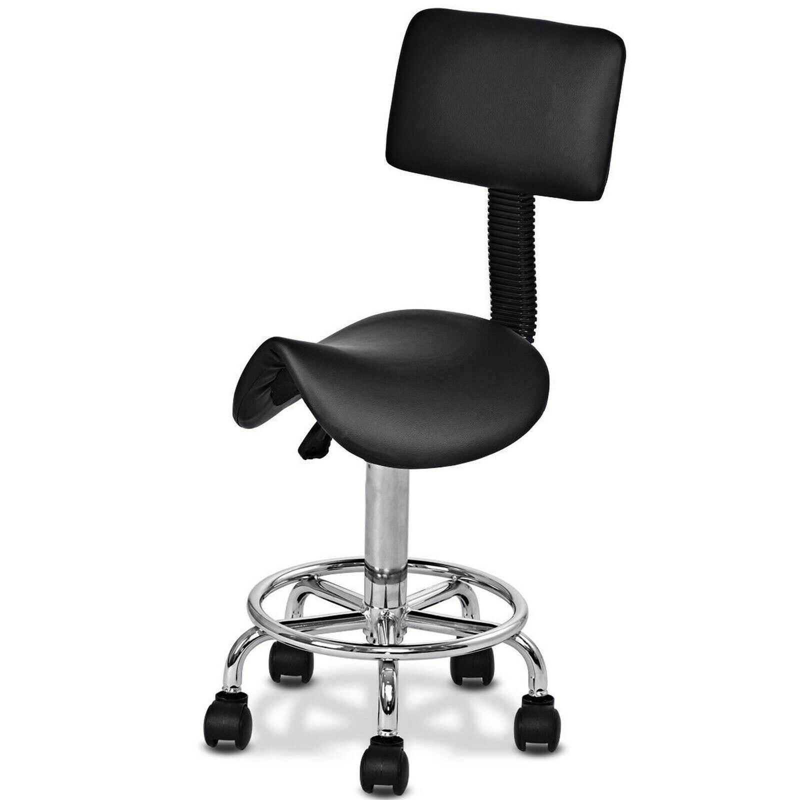 Costway Adjustable Saddle Salon Stool Rolling Massage Chair