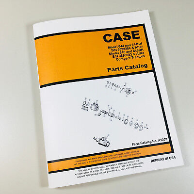 Case 644 644bh Compact Tractor Parts Manual Catalog Sn 9698284 After